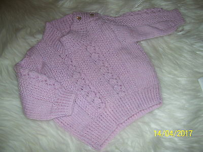 Baby Girls Hand Knitted Mauve Jumper. Size 000. & Singlet.  All New!.