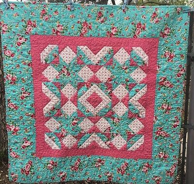 "Floral Aqua Blue & Pink Rose Shabby Chic Baby Girl Quilt, Table Topper 38"" x 38"""