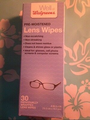 Walgreens PRE-MOISTENED Lens Cleaning Wipes 30 IND WRAPPED WIPES NEW 6X4