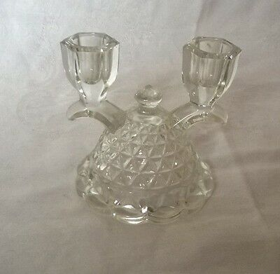 2 ANTIQUE GLASS DOUBLE CANDELABRA DIAMOND PATTERN CANDLE HOLDERS (Pair)