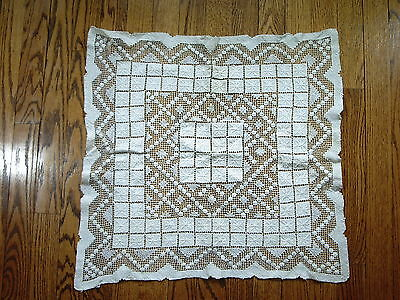 "Tablecloth Netted Mondano Lace Large Doily Ecru Flower Weaving Cotton 22"" Square"