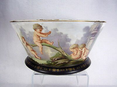 "Baccarat Opaline Crystal 14"" Bowl Putti at Play Jean-François Robert Mid 19th C."