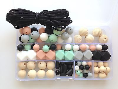 DIY Silicone Necklace Kit, Silicone Beads, DIY Silicone & Wooden Bead Kit