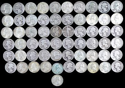 Lot of 61 US Silver Quarters - NO RESERVE Collection Washington Barber Liberty