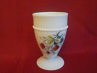 Westmoreland Milk Glass Beaded Edge Footed Tumbler Strawberry 8 Oz. Hand Painted