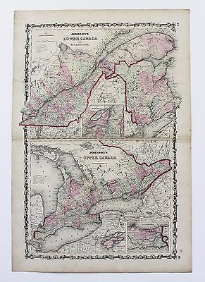 1861 Canada Map New Brunswick Montreal Railroads Double Page Color Original