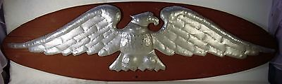 Vintage Hand Hammered Copper  Wood American Bald Eagle House-Wall Hanging Plaque