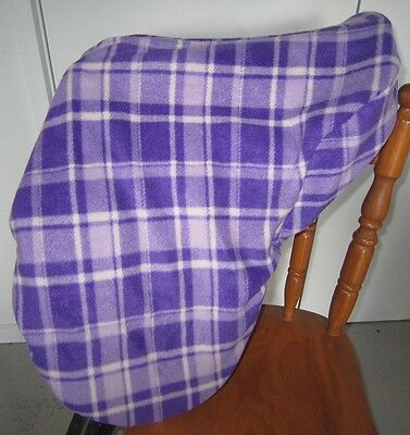 Horse Saddle cover Purple and white tartan FREE EMBROIDERY All Australian Made