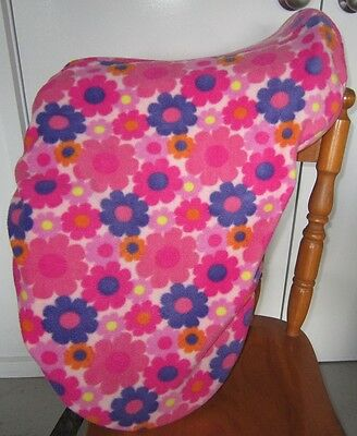 Horse Saddle cover Pink & Purple floral FREE EMBROIDERY All Australian Made