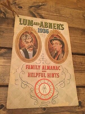 """Collectible """"Lum and Abner""""s 1936 Family Almanac Calendar and Helpful Hints"""