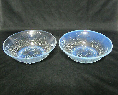Pair of English Jobling Glass Art Deco Opalique Opalescent Berry Bowls 777134