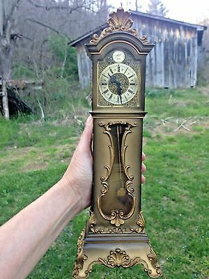 Vintage Schmid 8-Day Key-Wind Miniature Grandfather Clock-Germany-Works-Complete
