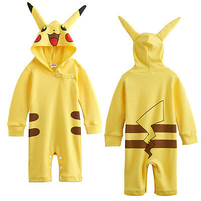 Baby Boys Girls Pokemon Pikachu Outfit Romper Infant Cute Hoodie 18-24 M