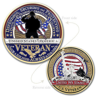 Military Veterans Challenge Coin · Armed Forces Land of the Free ·Freedom Coin