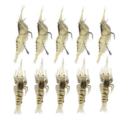 10x 4cm Silicone Shrimp Style Soft Prawn Lure Hook Tackle Bait Sea Fishing Lures