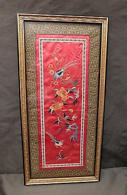 Vintage Chinese Embroidery Silk Panel Black Gold Solid Wood Frame Birds Flowers