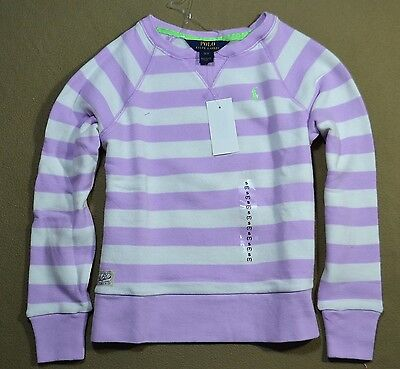 Nwt Girls Polo Ralph Lauren Purple Striped Sweatshirt Sweater Shirt Sz S-L 7-14