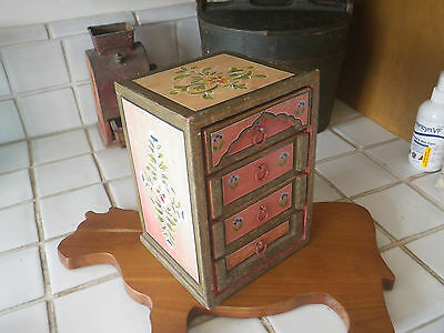 Hand Painted Rosemaling Wood Jewelry Box Chest Drawers