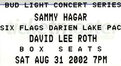 Sammy Hagar/David Lee Roth Concert Ticket – 2002 Darien Lake, NY. Unused