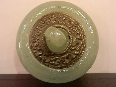 Ancient Possible Roman Glass Lidded Pot With Bronze Mount