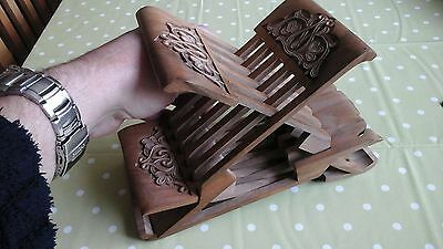Fine Quality Vintage Carved Hardwood Signed Bible / Book Stand ? Bit Of A Puzzle