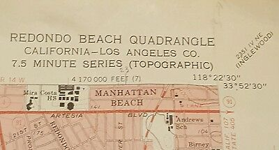 Vintage 1963 Redondo Beach Quadrangle Manhattan Beach  Rancho Palos Verdes Map