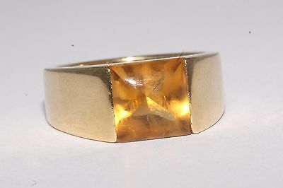 Cartier 18ct Yellow Gold 'Buff Top' Cabochon Citrine Ring Size J