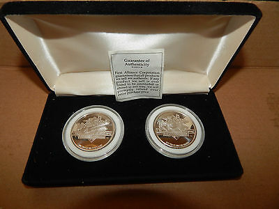 Beautiful 1989 World Series Two 1 Troy Ounce Coins In Orig. Holders & Case Ex.CD