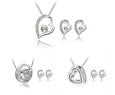 Crystal Silver Heart Bridal Jewellery Set Earrings and Necklace.