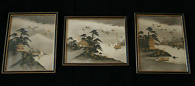 Vintage Japanese Hand Painted Framed Pictures With Gold Highlights