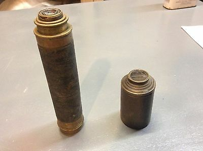 Antique Telescope And Lens With Brass And Leather