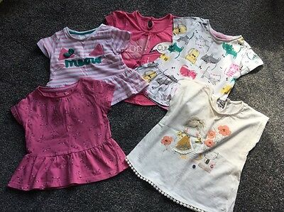 5x Baby Girls T-shirts 12-18 Months, Excellent.