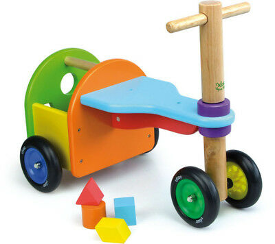 NEW Rainbow Ride-On with Shape Sorter | Vilac | Kids Toddler Bike Toy Wooden Fun