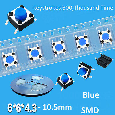10pcs 6x6x4.3mm-10.5mm SMD Blue Mini Micro Momentary Tactile Push Button Switch