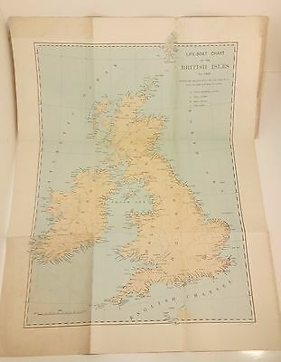 Rare Vintage LIFEBOAT CHART OF THE BRITISH ISLES FOR 1923 RNLI