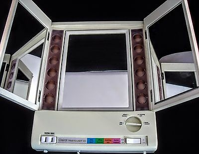 CLAIROL True To Light Make-Up Mirror Lighted Vanity Tri-Fold Adjustable LM-8C