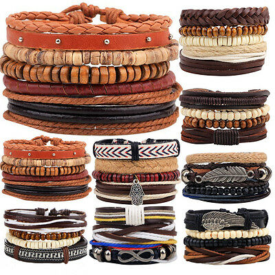 Mens leather and wood bead multi layer surfer stacking wristband bracelet