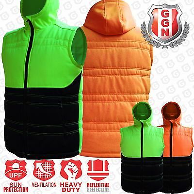 Mens HI VIS Vest quilted puffy Safety Work wear Zip Up Reflective zipped pockets