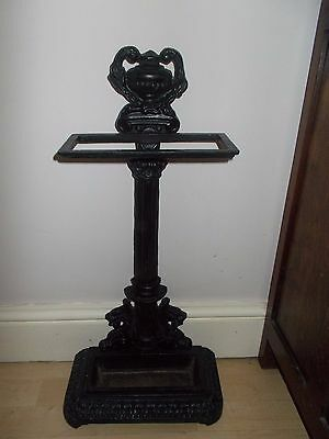 Vintage Cast Iron Umbrella Stand, black with dragon design