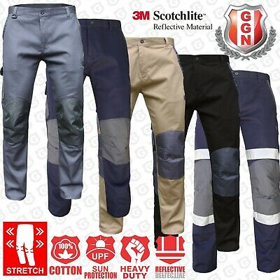 Cargo Pants Mens Ladies Sizes Cotton Drill Work Trousers KNEE POCKETS Slim Fit