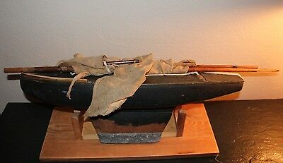 """Vtg. Wooden Pond Boat--24"""" With Weighted Keel"""