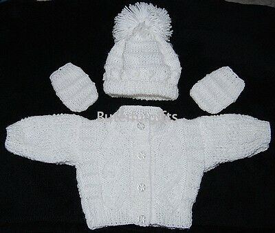 Newborn Baby Boy Girl Unisex White Hand Knitted Cardigan Hat & Mitts Set