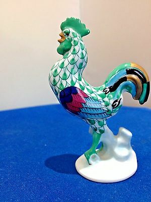 Herend Porcelain Figurine Cockerel Rooster Green Fishnet Hand Painted China