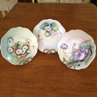 Vintage/antique Herman Ohme Silesia hand painted plates (3), signed