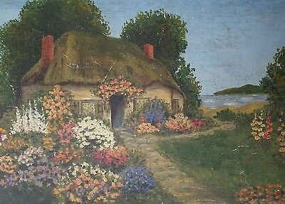 Antique 1890-1920 English Country Cottage Oil Painting Hollyhocks Devoe Board