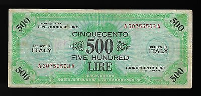 Italy AMC Series 1943A  Pick M22a  500 Lire