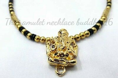 Ganesha Pendant Thai Buddhist Necklace Amulet Buddha Coconut shell Gold Beads.