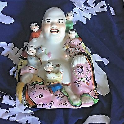 Large Chinese Porcelain Laughing Buddha Children Fertility Rose Famile Statue 9""