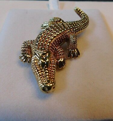 14k 3D Yellow Gold Alligator Crocodile Figural Animal Brooch Pin Fully Textured