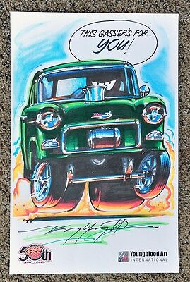 50TH KENNY YOUNGBLOOD SIGNED CARtoon GASSER HOT ROD DRAGSTER DRAG RACING